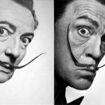 Philippe Halsman Salvador Dalí (1954) and Sandro Millers version with John Malkovich。照片由 artnet提供。