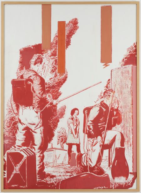 尼奥·豪赫,《Stau》,纸上油画,210 x 151 cm,1999,致谢:David Zwirner, New York/London