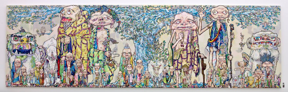 村上隆,《69 Arhats Beneath the Bodhi Tree》(2013) 图片来源:Courtesy of the artist and Blum & Poe ©2013 Takashi Murakami/Kaikai Kiki Co., Ltd. All Rights Reserved