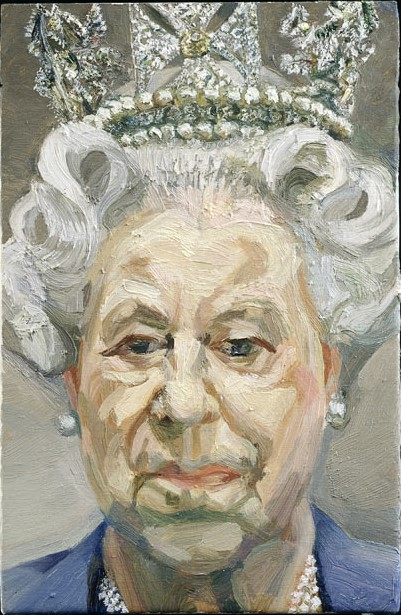 卢西恩·弗洛伊德,《伊丽莎白女王二世2000–2001 》( HM Queen Elizabeth II 2000–2001 ,2001) 图片: © Royal Collection Trust 2012/the Lucian Freud Archive.