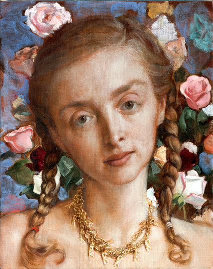 约翰·库林《花园里的蕾切尔》(Rachel in the Garden) 图片:© John Currin,photographed by Rob McKeever,courtesy Gagosian Gallery