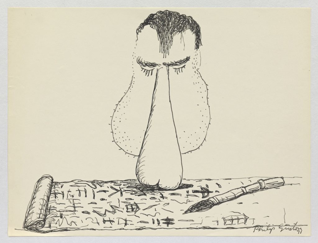 Philip Guston,《无题》(Untitled),1971,纸上水墨。 图片:© The Estate of Philip Guston, Courtesy Hauser & Wirth