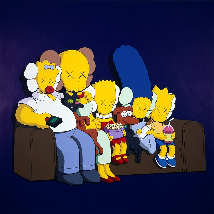 KAWS,UNTITLED (KIMPSONS),2004,Acrylic on canvas,203.2 × 203.2 cm,Private Collection,New York。图片:致谢余德耀美术馆