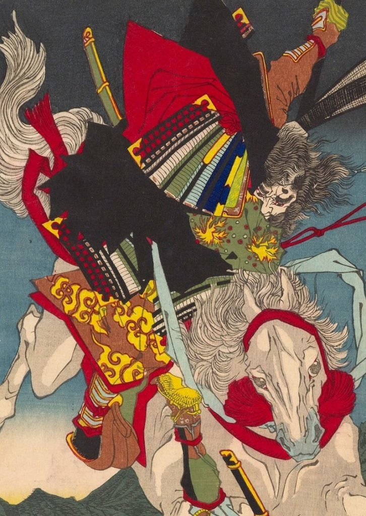月冈芳年《Courageous Warriors:Sagami Jiro Taira Masakado》(1883)作品细节。图片:致谢Scholten Japanese Art 画廊