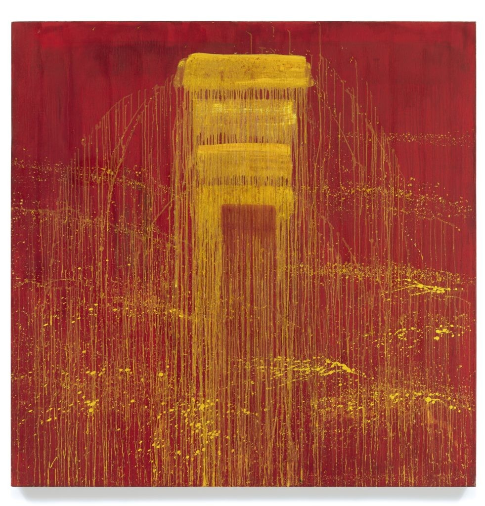 Pat Steir,《Four Yellow / Red Negative Waterfall》,1993。