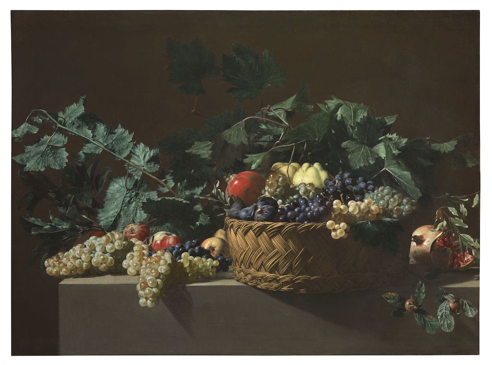 Bartolomeo Cavarozzi,《Still Life with Quinces, Apples, Azeroles (Hawthorn berries), Black grapes, White grapes, Figs and Pomegranates》。图片:Courtesy Colnaghi, London