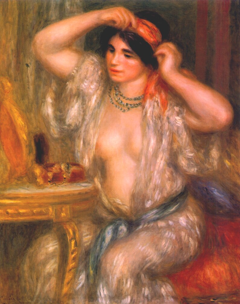 雷诺阿,《Gabrielle at the Mirror》,1910。