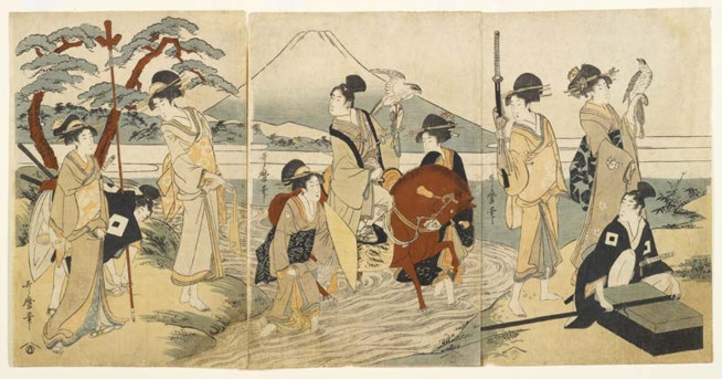 喜多川歌麿《富士山前的聚会》(Kitagawa Utamaro, Party in Front of Mount Fuji,大约1790)。图片:致谢Royal Ontario Museum, ©ROM
