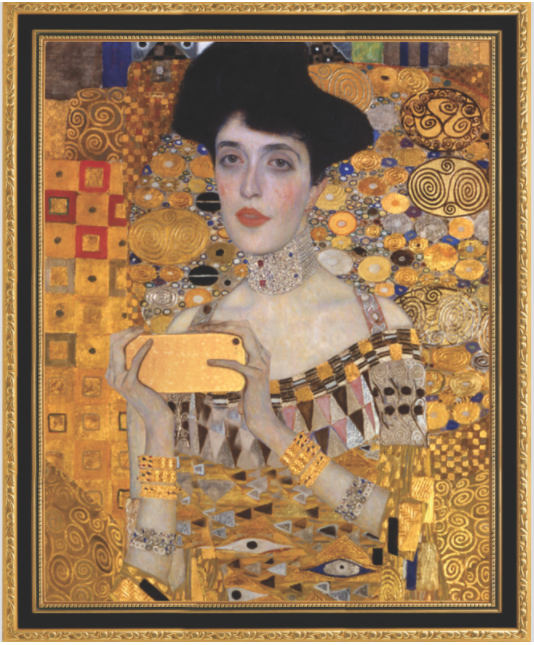 古斯塔夫· 克林姆(Gustav Klimt)的《金衣女人》(Woman in Gold)被想象成一位正在自拍的女性。图片:Courtesy of the Museum of Selfies