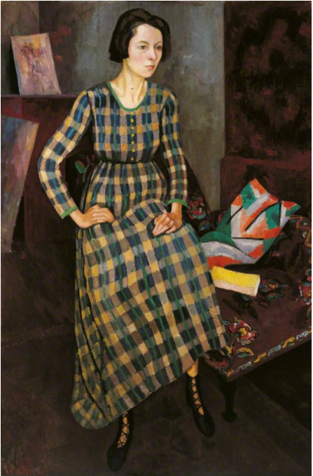 Roger Fry,《Nina Hamnett》(1917),裙子由Venessa Bell设计并在Omega制作。图片:© University of Leeds Art Collection and Gallery;courtesy of the Public Catalogue Foundation