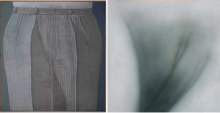 左:Domenico Gnoli,《条纹裤》(Striped Trousers, 1969);右:Betty Tompkins,《阴部绘画#26》(Pussy Painting #26,2016)。图片:Courtesy of PPOW Gallery, New York
