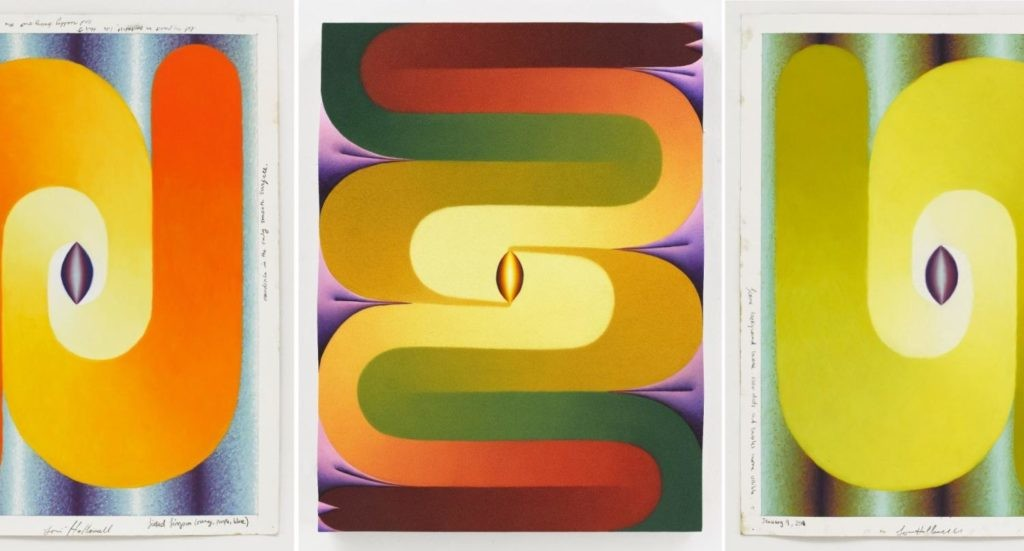 洛伊霍洛韦尔,《Linked Lingam (orange, purple, blue ; Stacked Lingams (yellow, purple, green, red); Linked Lingam(green, yellow, blue, purple)》,2018。图片:All images © Loie Hollowell; Kerry Ryan McFate;courtesy of Pace Gallery