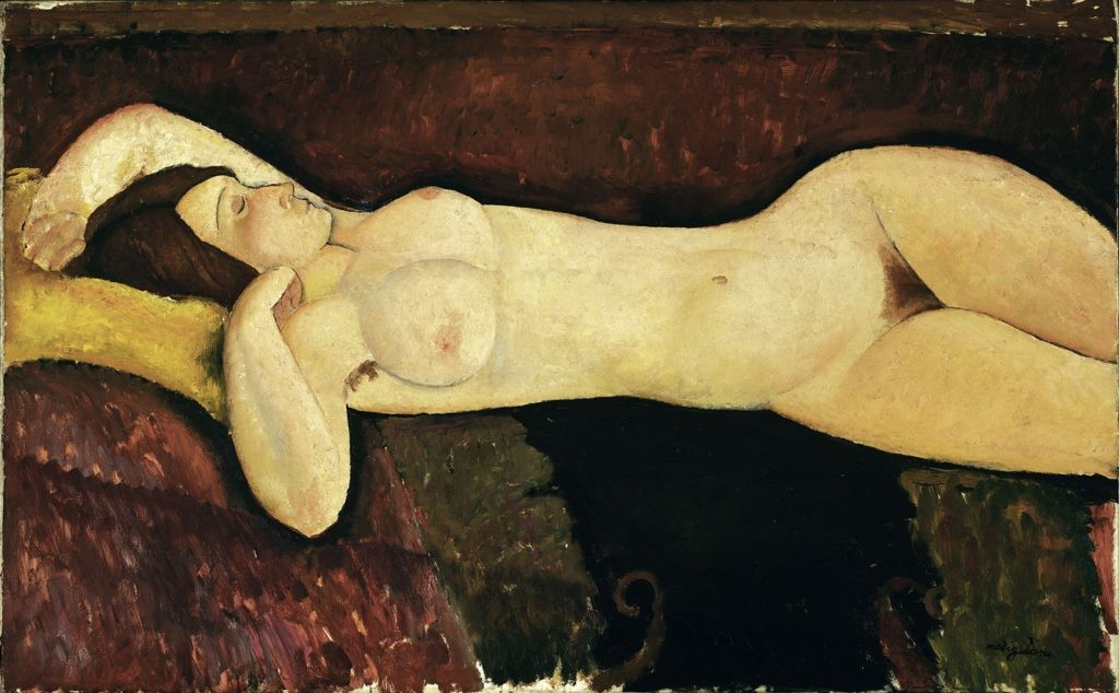 莫迪利亚尼,《侧卧的裸女》(Reclining Nude),1919。图片:Museum of Modern Art,New York