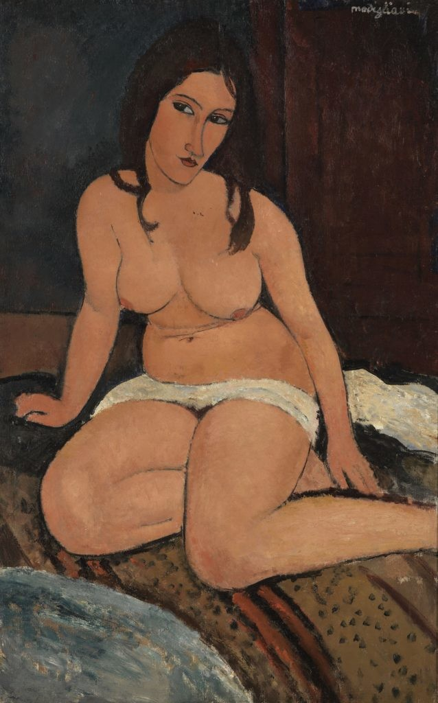莫迪利亚尼,《坐着的裸体》(Seated Nude) ,1917。图片:Royal Museum of Fine Arts Antwerp,Lukasartin Flanders;Hugo Maertens