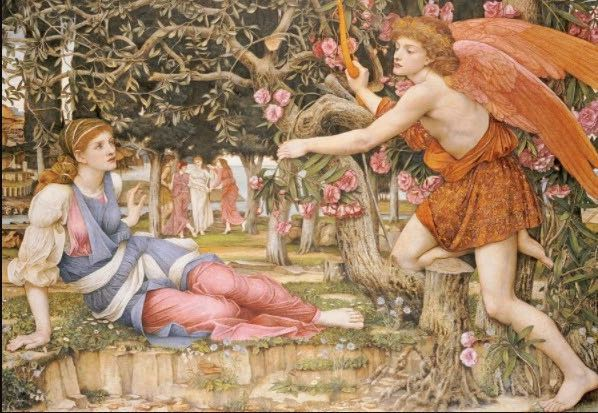 John Roddam Spencer Stanhope,《Love and the Maiden》,1877。图片:Courtesy of the Fine Arts Museums of San Francisco
