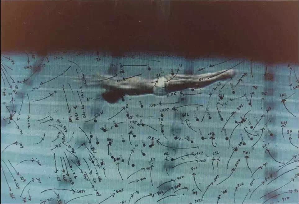 Howardena Pindell,《录像绘画:游泳》(Video Drawings: Swimming),1975。图片:Courtesy of the artist and Garth Greenan Gallery, NY