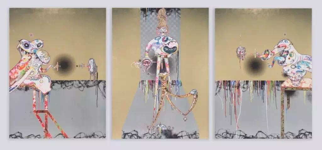 村上隆,《致敬弗朗西斯·培根(第二版三联画(浅色背景))》(Homage to Francis Bacon(Second Version of Triptych (on light ground)) (2016)。图片:©2016 TakashiMurakami/Kaikai Kiki Co., Ltd. All Rights Reserved. Courtesy Perrotin