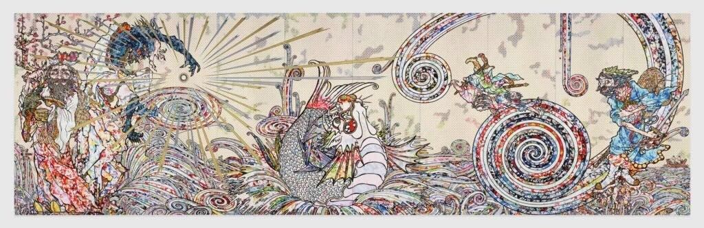 村上隆,《风仙图》(Transcendent Attacking aWhirlwind, 2017)。图片:©2017 Takashi Murakami/Kaikai Kiki Co., Ltd. All Rights Reserved.Courtesy Perrotin
