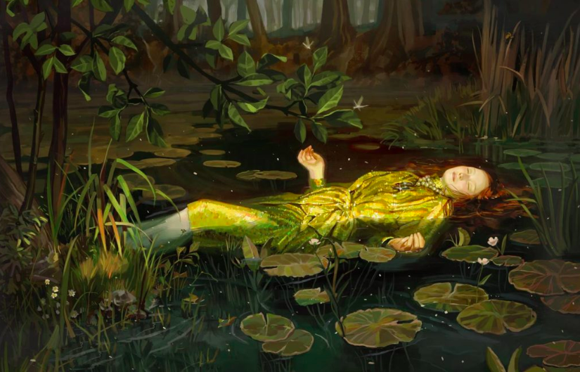 Ignasi Monreal为  Gucci所作的设计,灵感来源于 John Everett Millais《奥菲利亚》(Ophelia,1852) ,Tate Gallery in London。图片:courtesy of Gucci