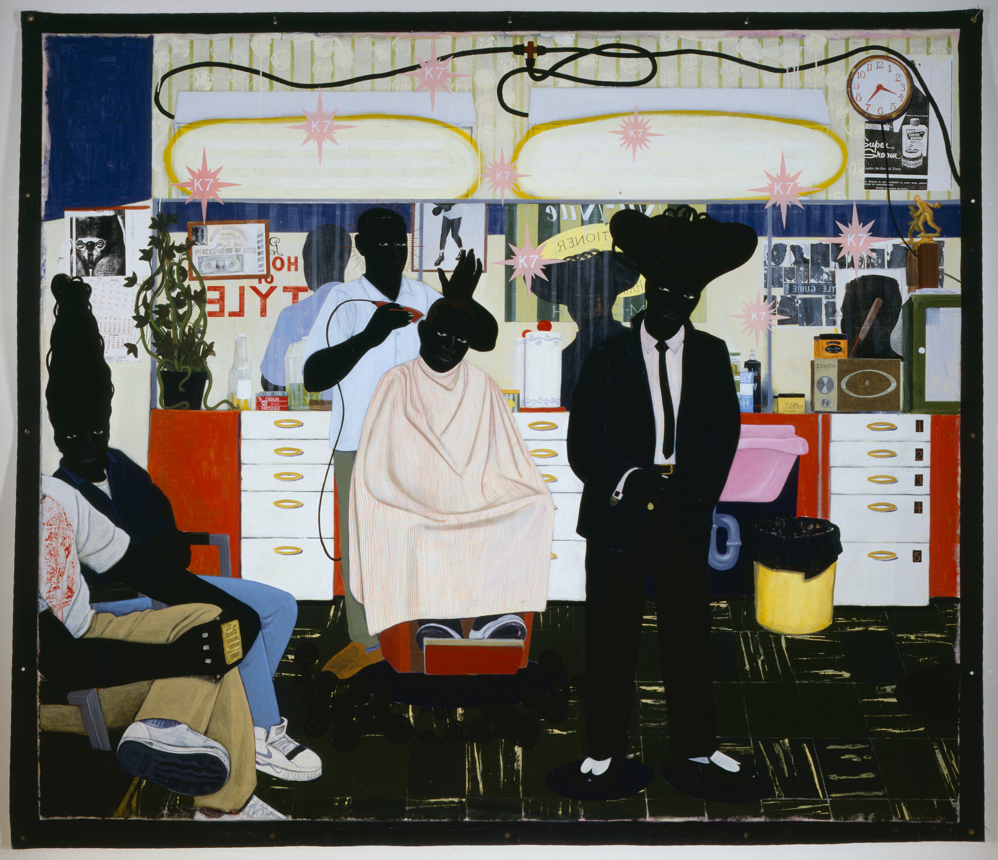 克里·詹姆斯·马歇尔,《样式》(De Style),1993。图片:致谢 © Kerry James Marshall;© 2015 Museum Associates / LACMA, and Art Resource, New York