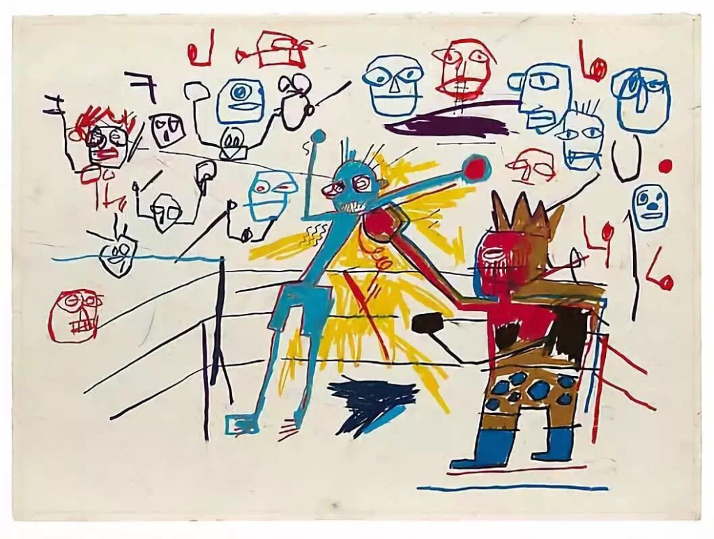 让-米榭尔·巴斯奎亚(Jean-Michel Basquiat),《无题》(Untitled (Boxing Ring)(1981)。图片:acquavellagalleries.com