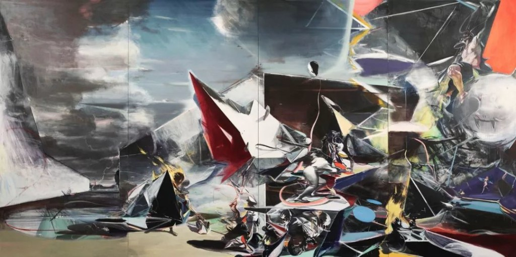 贾蔼力,《奏鸣曲》(Sonatine),布面油画,500 x 1000 cm,2019。图片:© Jia Aili Studio. Courtesy Gagosian