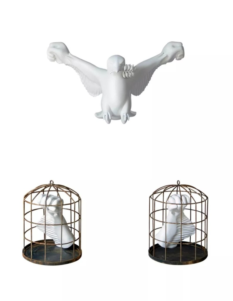 莫·赛特(Moe Satt), 《鸽子的革命之手》 (Dove with revolution hand,2018–19)。图片:由Nova Contemporary提供