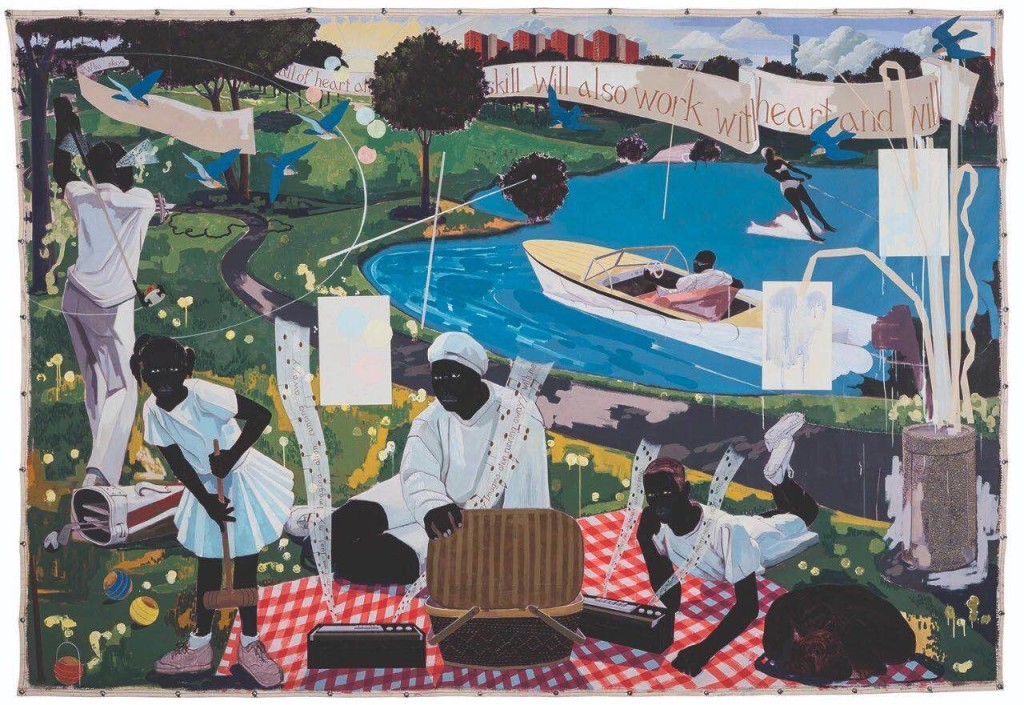 克里·詹姆斯·马歇尔(Kerry James Marshall),《昔日》(Past Times, 1997)。图片:Courtesy of Sotheby's