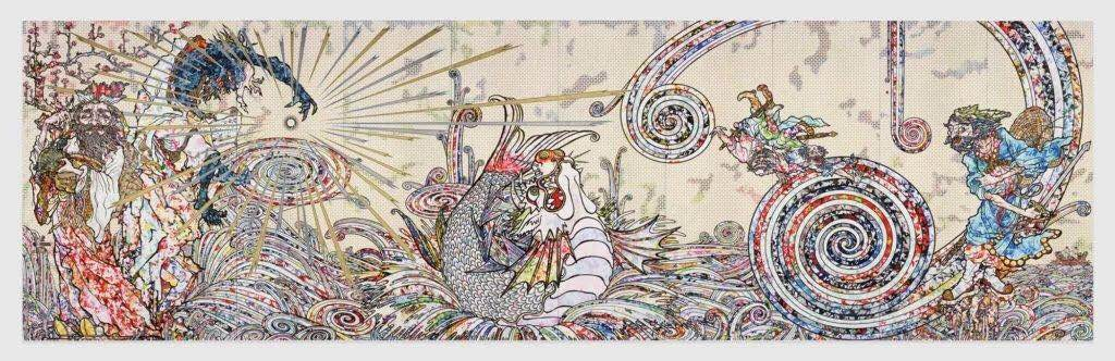 村上隆,《风仙图》(Transcendent Attacking a Whirlwind,2017)。图片:©2017 Takashi Murakami/Kaikai Kiki Co., Ltd. All Rights Reserved. Courtesy Perrotin