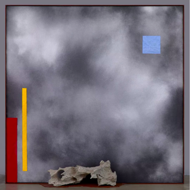 《2-2.5-3 No.12》,布面丙烯油画,沙子,石头,钢 oil and acrylic on canvas, sand, stone, steel,151.1×151.2×22.3cm,2019