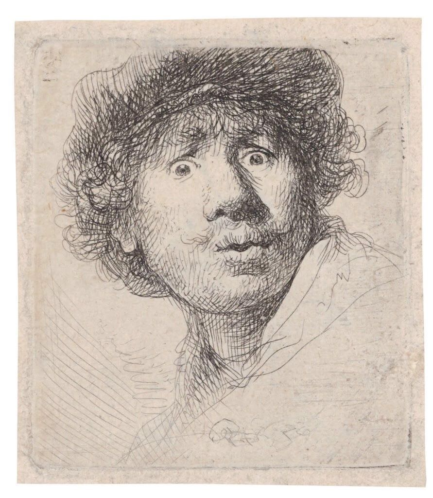 《自画像,戴帽,睁大眼睛,张着嘴》(Self-Portrait in a Cap, Wide-eyed and Open-mouthed,1630)。© Albertina,Vienna